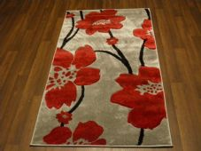 Modern New Rug Approx 5x2ft6 80cmx150cm Woven Thick best around Silver/Red poppy